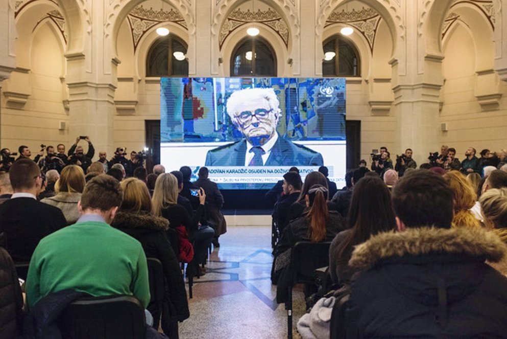 The live broadcast of the appeal procedure Karadzic´s at the Sarajevo City Hall on 20 March. / Photo: Post-Conflict Research Center (PCRC)
