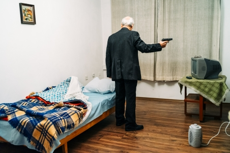 The man with the gun is a friend of the photographer´s father. In his long-term project Vladimir Vasilev tells stories about Bulgaria. Some are about his close friends, others are about complete strangers.